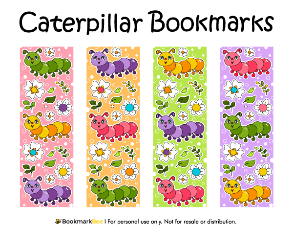 free printable caterpillar bookmarks download the pdf template at http bookmarkbeecom