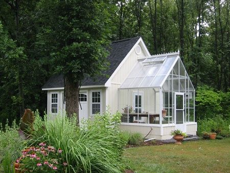 Tiny White House With Sun Room Or Greenhouse Attached So Splendid