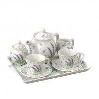 Lavender Herb Tea for 2 Breakfast set- teapot, 2 teacups with saucers, creamer, covered sugar, tray