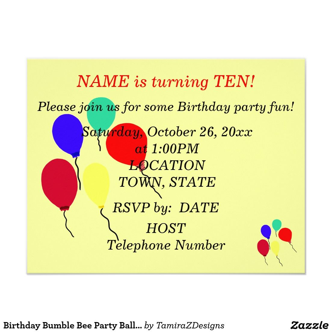 Birthday Bumble Bee Party Balloons Invitations Personalize Front Back Of For Any Age