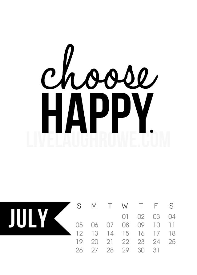 Free 5x7 Printable Calendar for July 2015 with