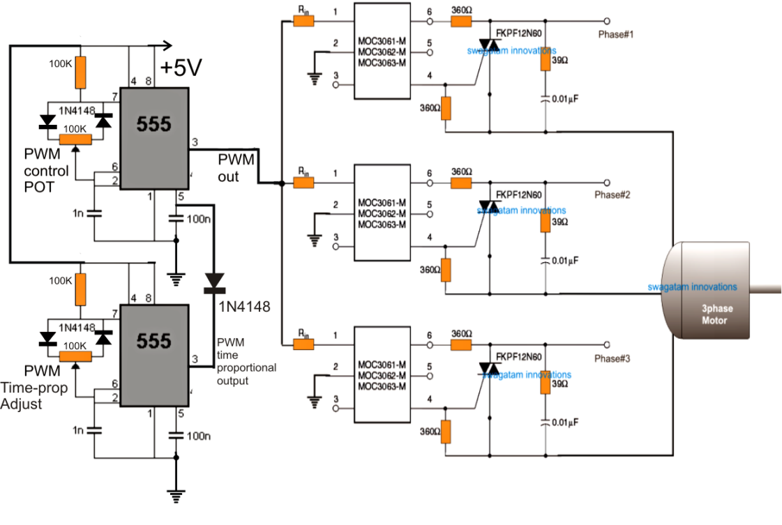 ... implement a 3 phase induction motor speed controller circuit using a  MOC IC and a PWM input instead of using complex matrix type of converter  topology