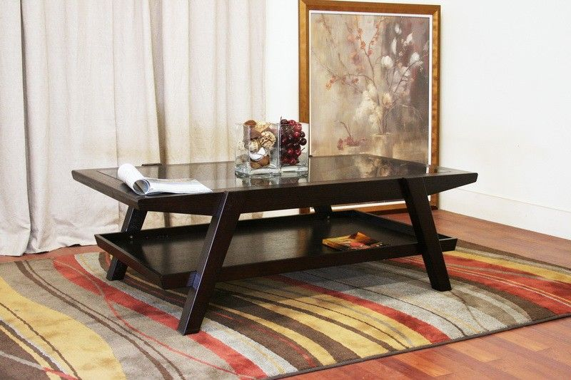 Living Room Furniture Coffee Tables Breiter Dark Brown Wood