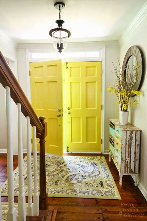 Beautiful Front Door Paint Colors Painted Interior Doors Yellow