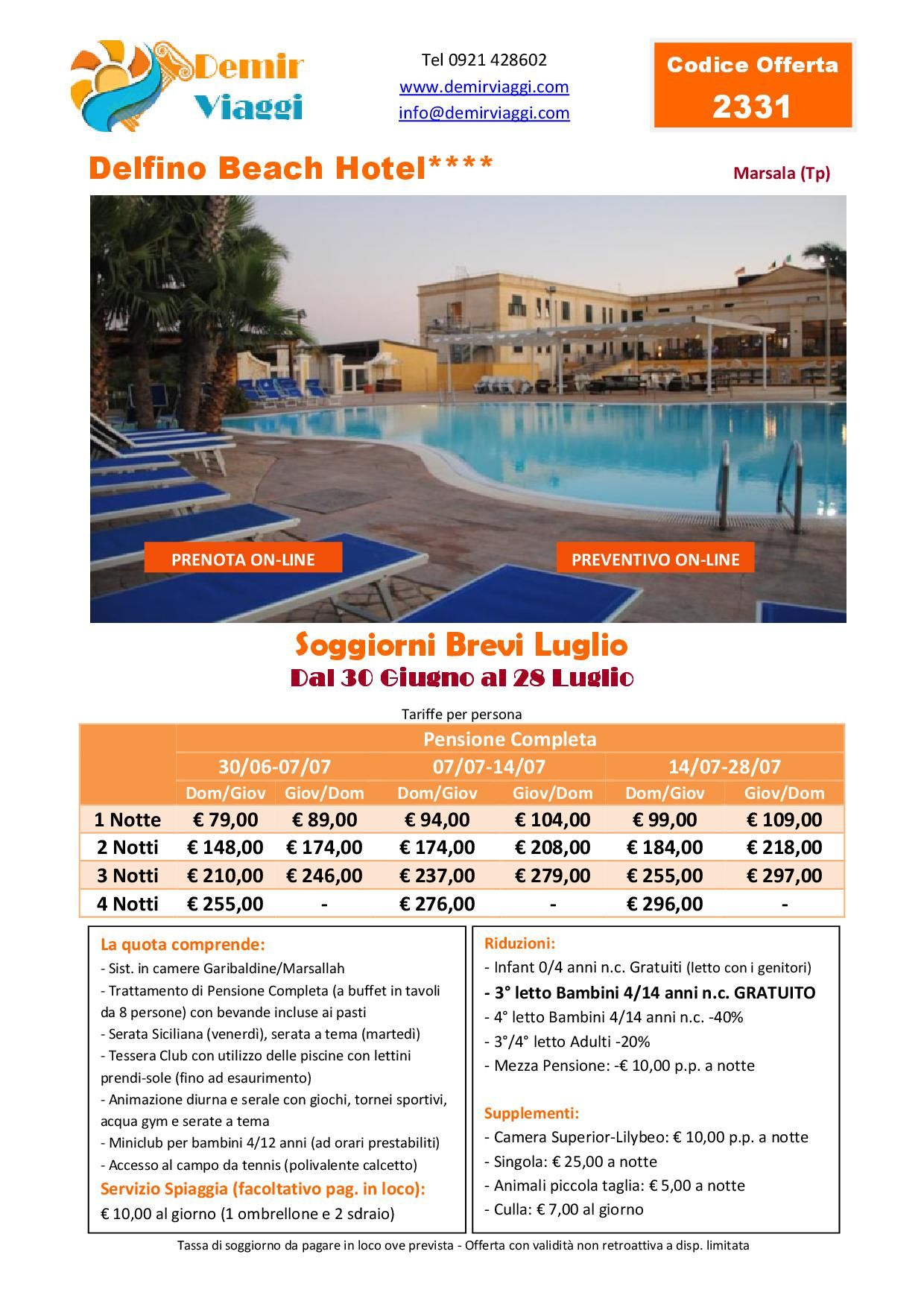 Delfino Beach Hotel**** - Marsala (Tp) Soggiorni Brevi #Luglio Per ...