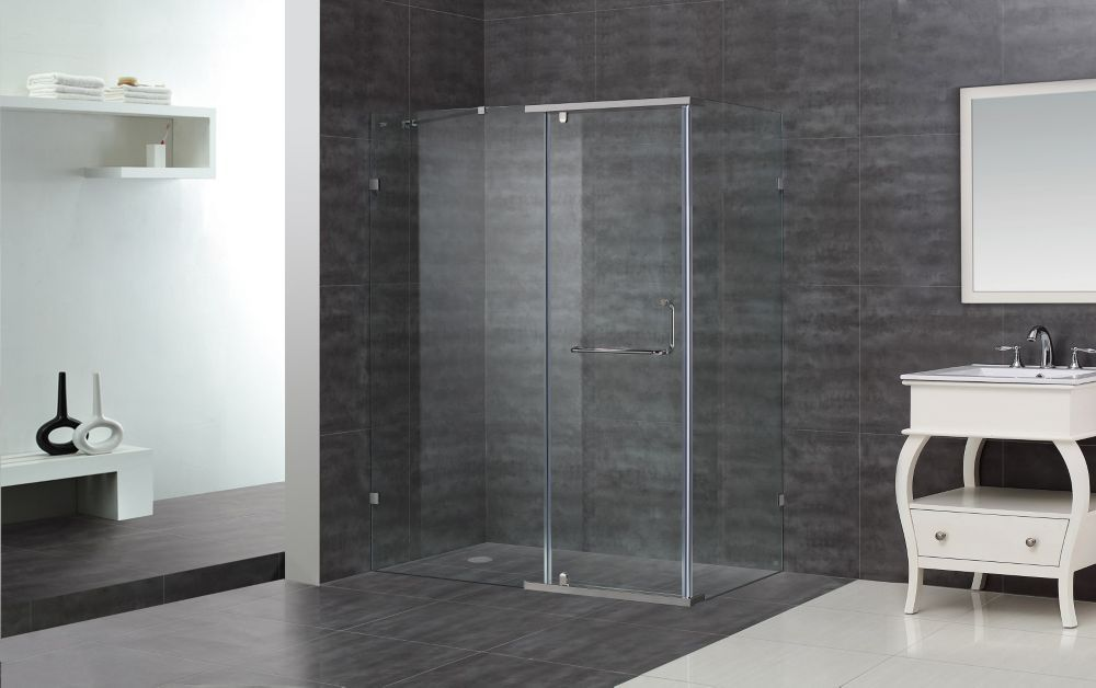 60-Inch x 35-Inch x 75-Inch Semi-Frameless Shower Stall in Chrome ...