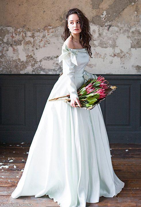 Adelphi / Quinceanera mint wedding dress open shoulders winter with ...