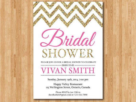 Bridal Shower Invitation. Gold Glitter Chevron Bridal by arthomer
