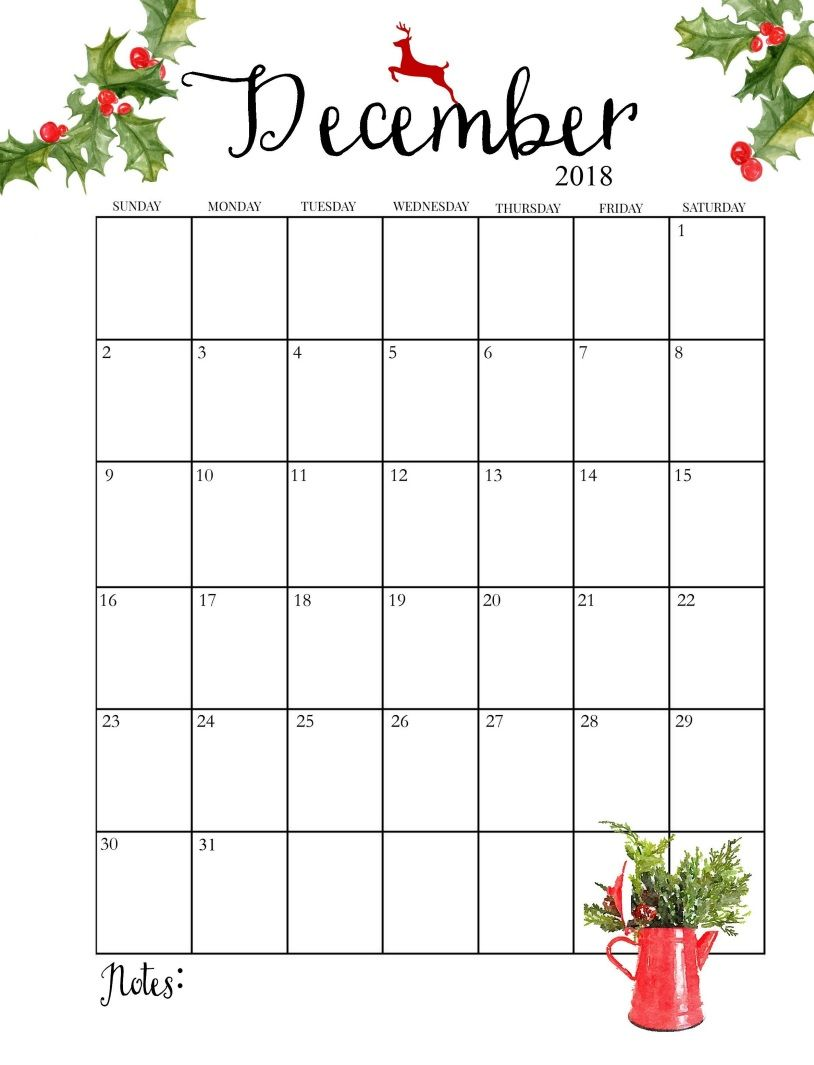 2018 printable monthly december calendar