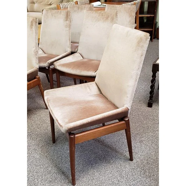 Set Of Six Mid Century Teak Upholstered Dining Chairs C 1960 Chairish Dining Chairs Chair Upholstered Dining Chairs