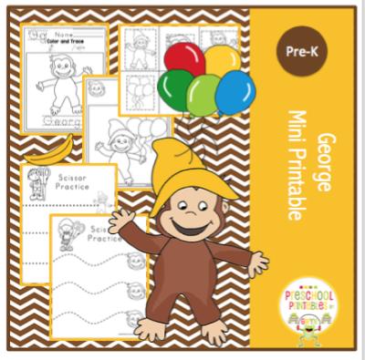 Free Curious George Mini Printable ~ Preschool Printables ...
