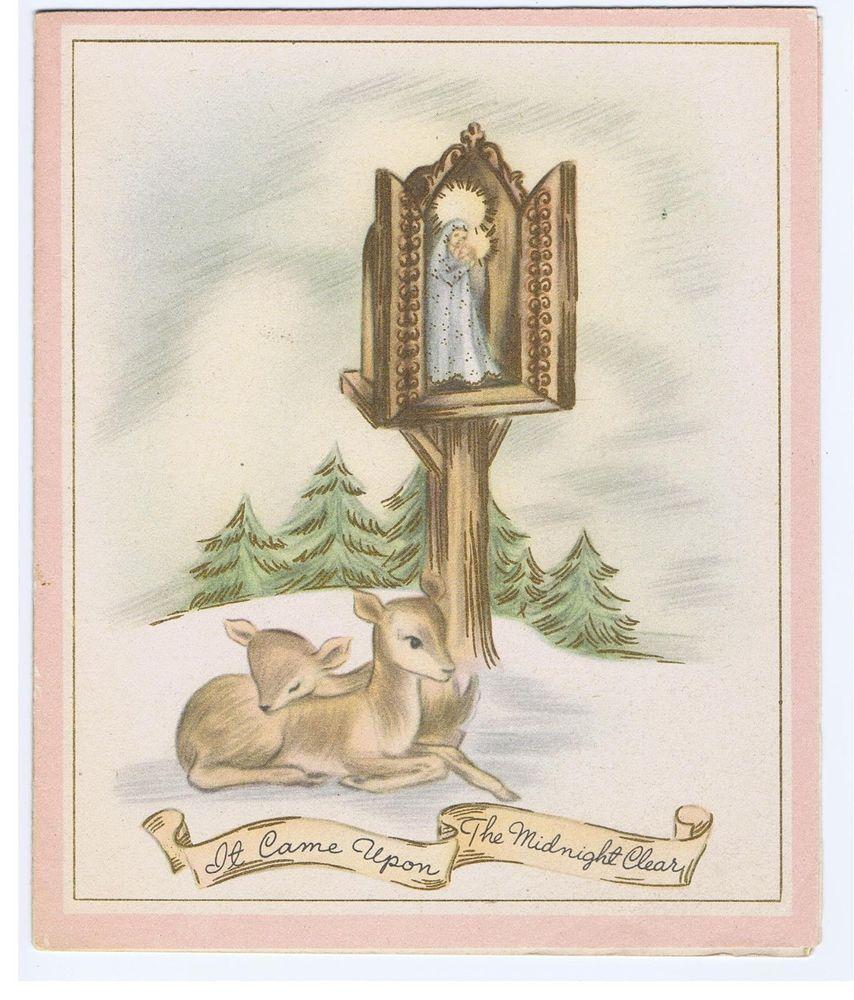 Vintage Christmas Card Deer Catholic Shrine Madonna Baby Jesus