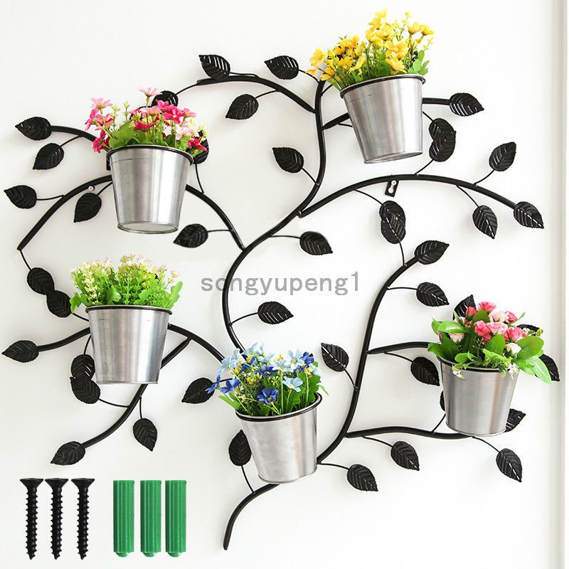 Black Metal Wall Mounted Potted Plants Stand With 5 Circle Holder