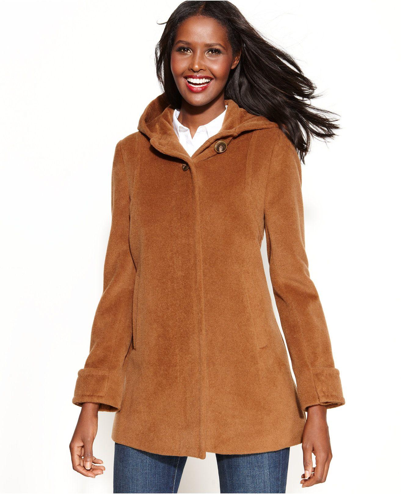 Jones New York Wool-Angora-Blend Hooded Coat  #ad