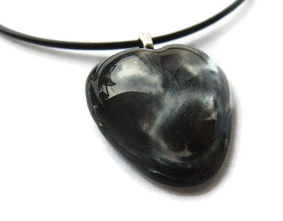 Hand painted black and silver paint swirl by ClarityArtJewelry