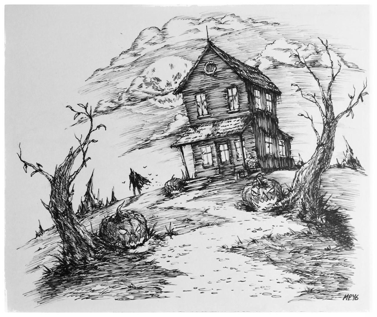 1/31 Inktober Haunted House Ink on paper 10x10