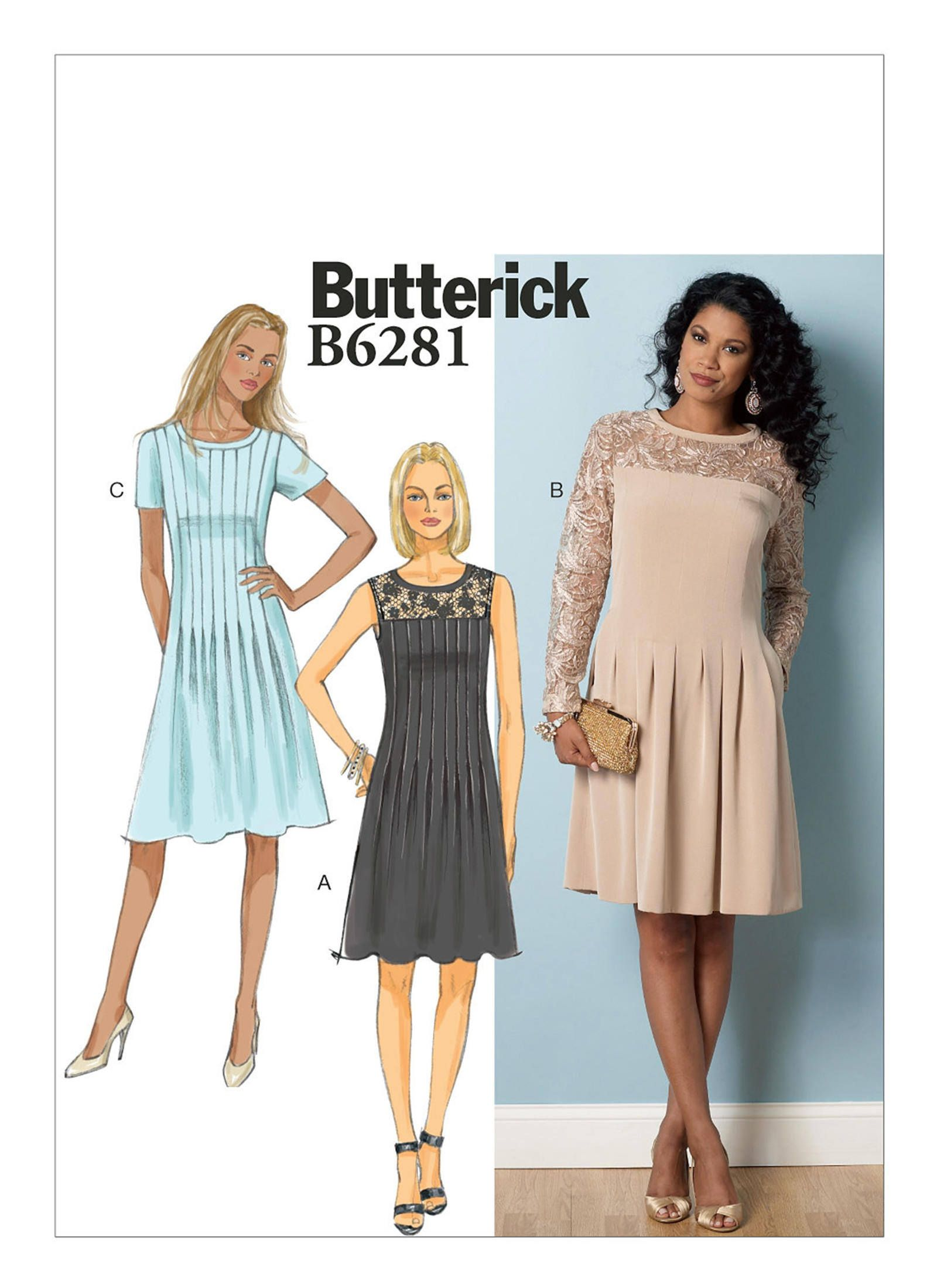Butterick B6281 Misses'/Misses' Petite Pleated Dre