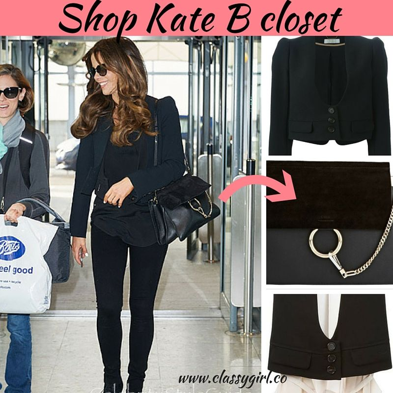 Kate Beckinsale looks chic and classy in all black as she leaves London. More on: http://classygirl.co