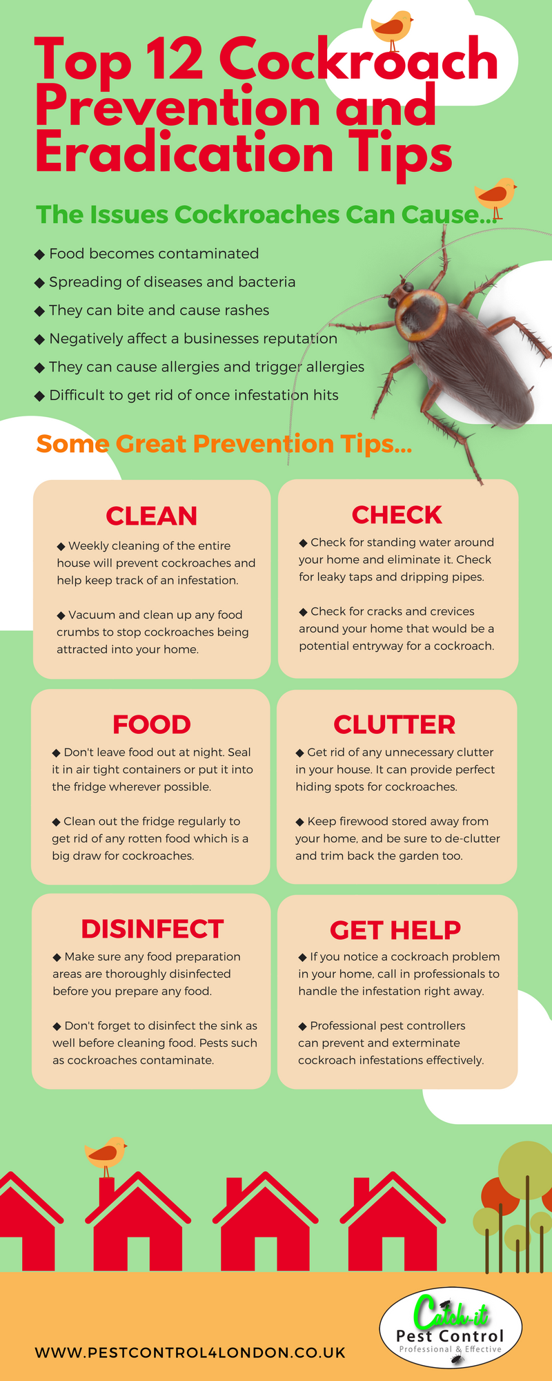 http://www.pestcontrol4london.co.uk/pest-control-north-london.html  This infographic from Catch-it Pest Control will give you the information you need to know about getting rid of and preventing cockroaches and other insects in the UK.