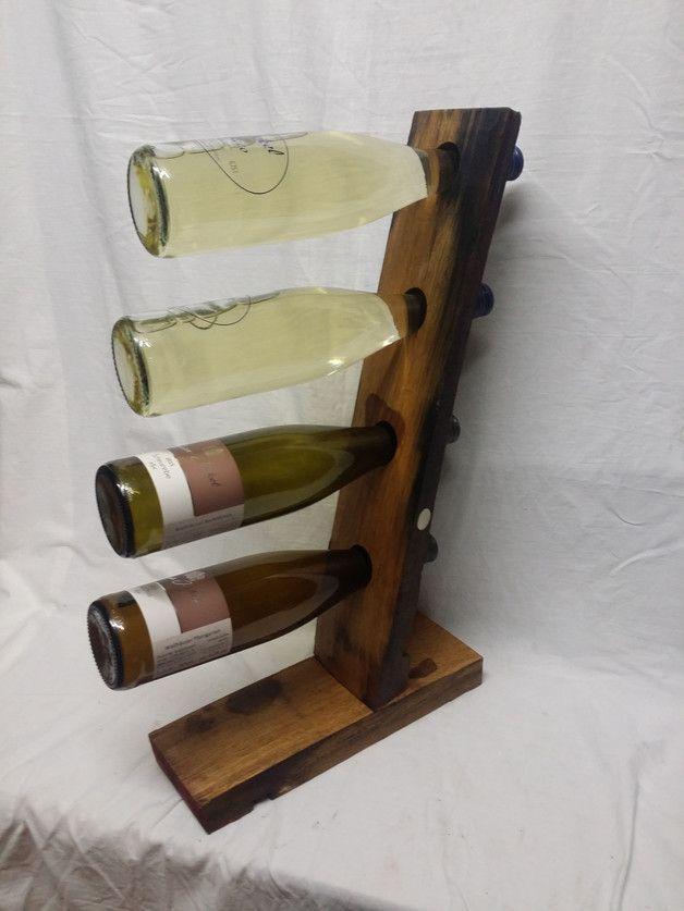 Weinflaschenhalter Aus Alten Wein Fassdauben Für 4