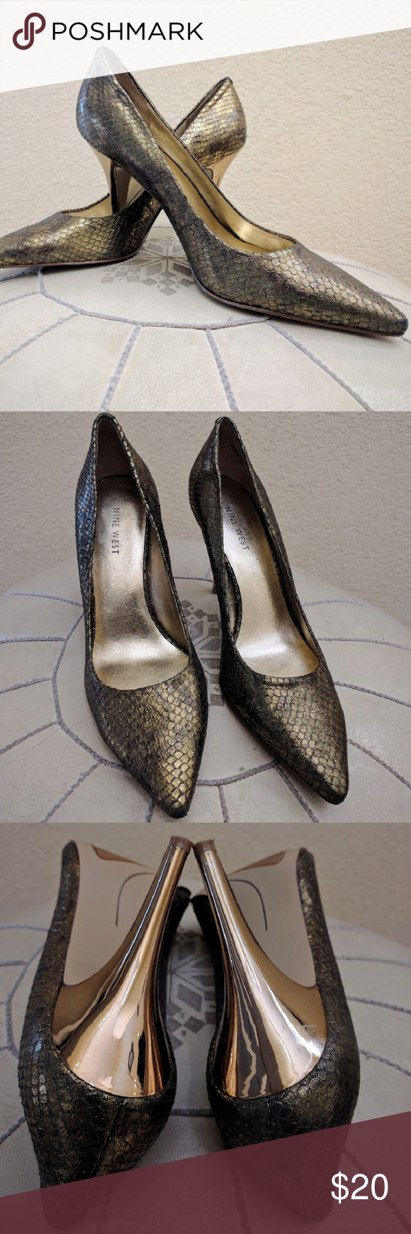 Nine west gold snakeskin pumps Size 7.5 Beautiful size 7.5 gold snake skin heels from Nine West.? These look great with dresses and boyfriend jeans! Toes show some wear but otherwise in good condition. Nine West Shoes Heels