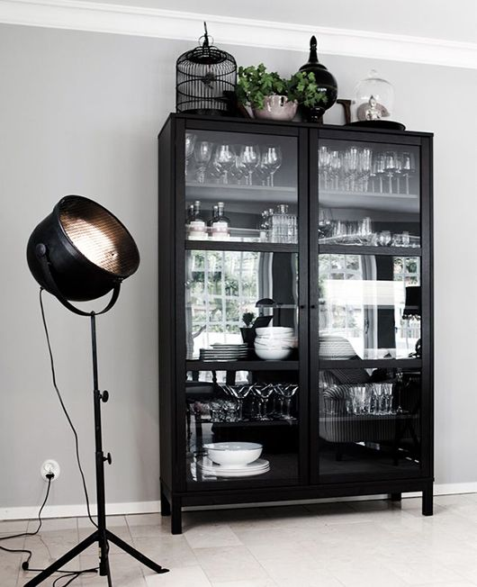 Elegant Tall Black Cabinet With Glass Doors / Sfgirlbybay