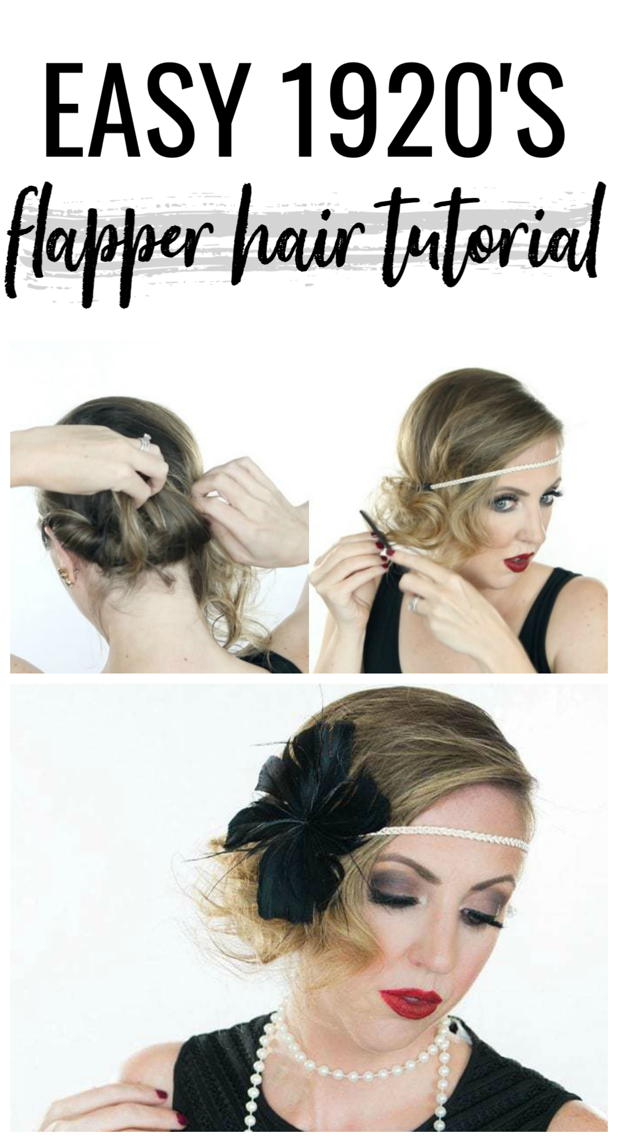 Easy Halloween Hair Tutorial 1920s Flapper Flapper Hair Hair Tutorial Gatsby Hair