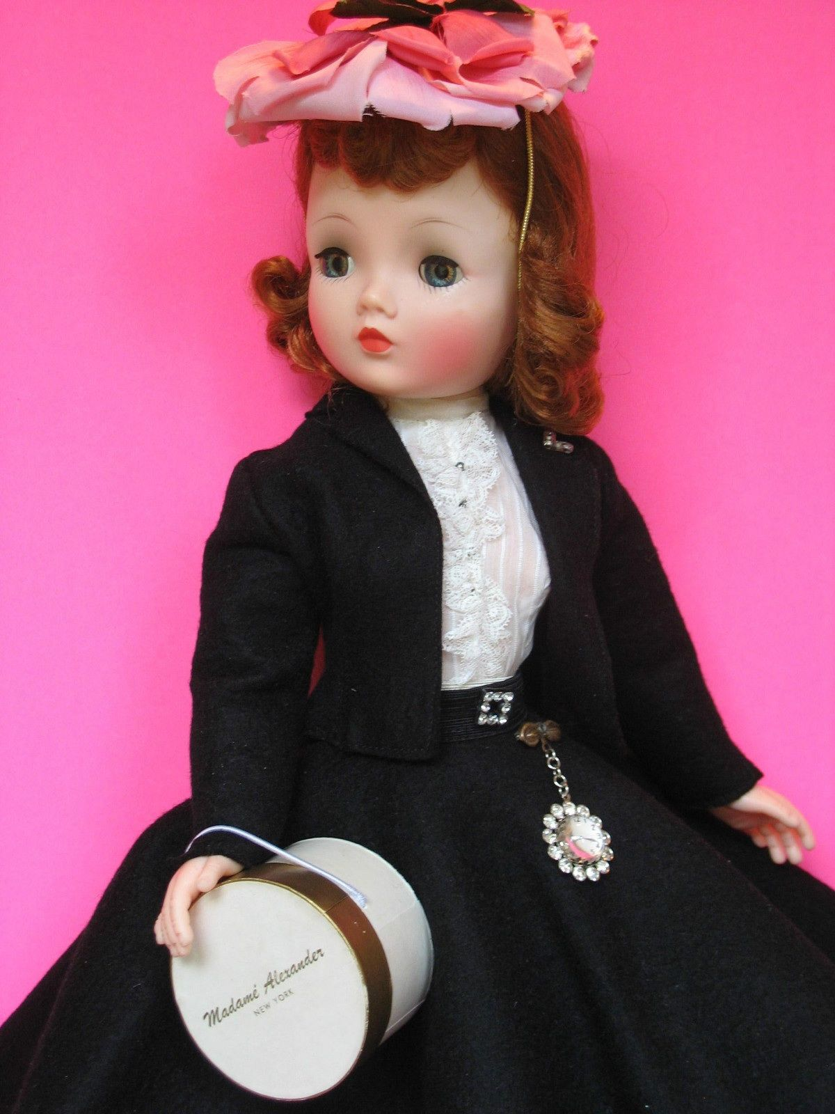 Gorgeous all original black wool suit and floral hat ...
