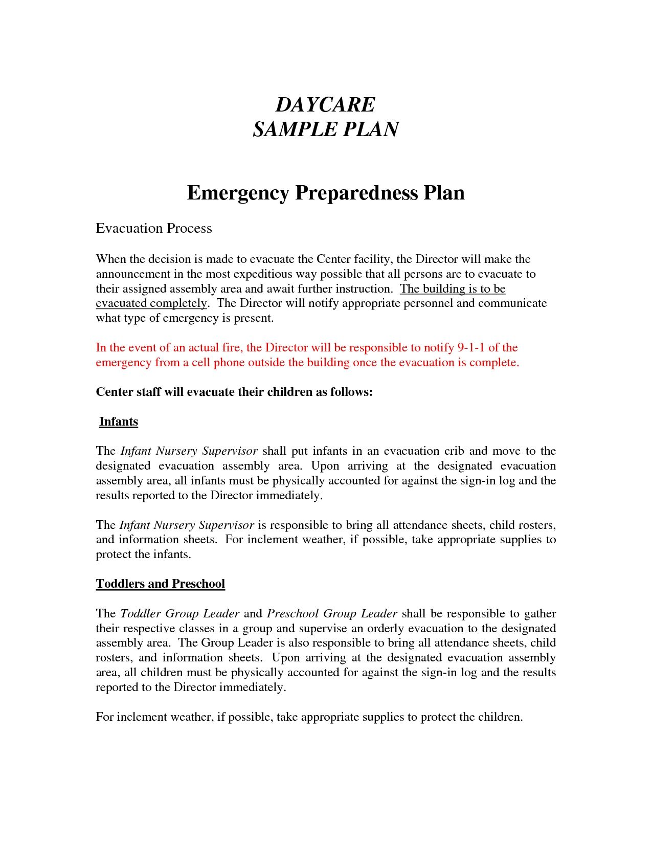 printable daycare emergency preparedness plan template