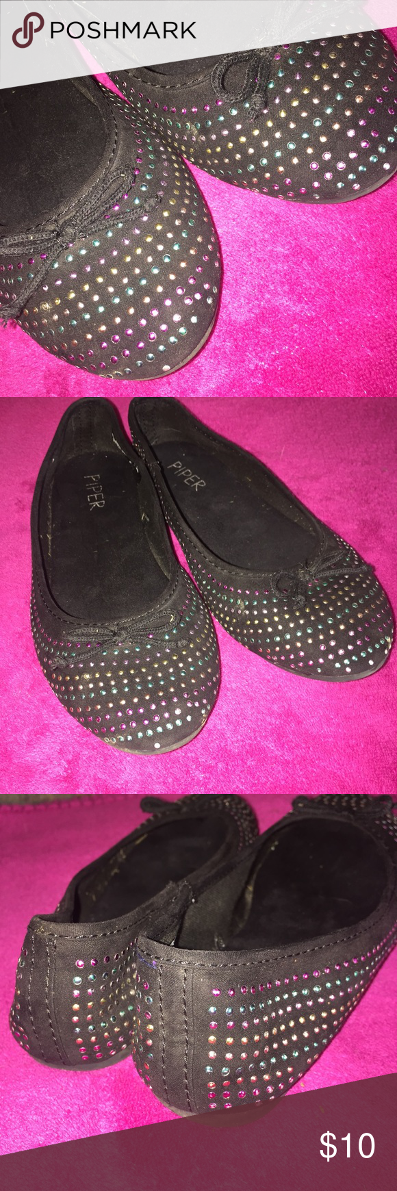 Jeweled Black Flats - girl's size 2 Great little flat with multi-colored jewels to go with any outfit.  Good condition, missing a few little gems here and there. Piper Shoes Dress Shoes