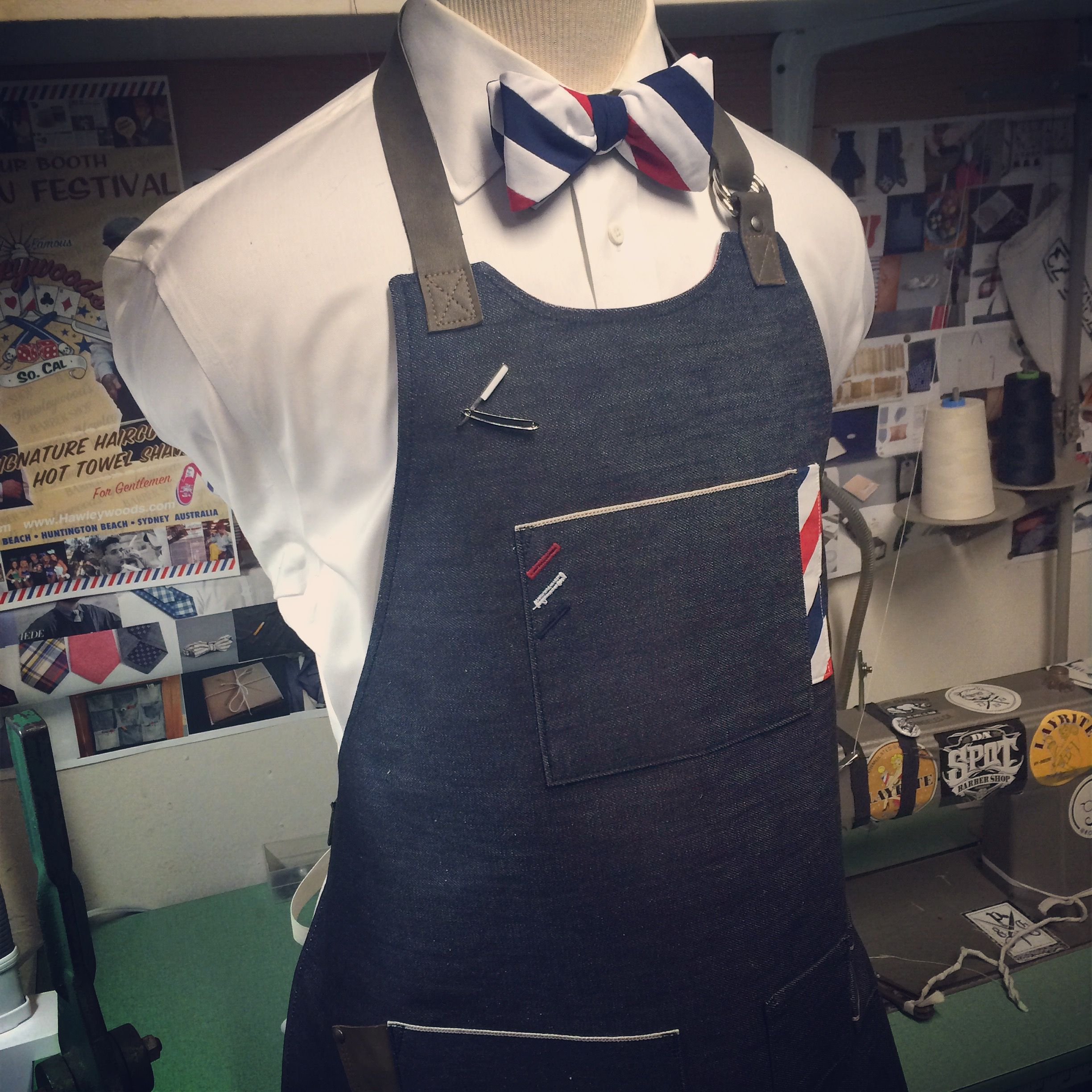 Custom made selfedged cone mill denim barber apron and bow tie ...