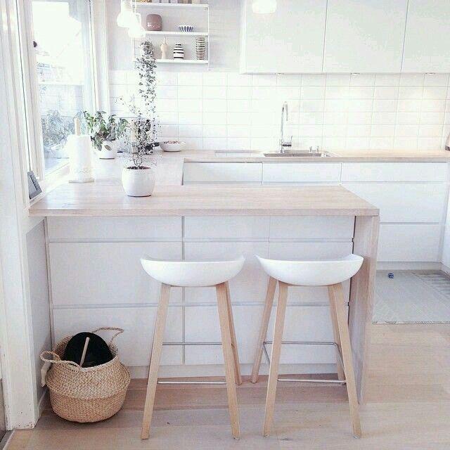 Cuisine Bois Clair Et Blanc Kitchen Interior Home Kitchens Kitchen Design