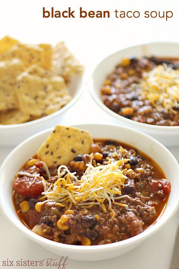 Black Bean Taco Soup (Freezer Meal) | Six Sisters' Stuff. Start with Zaycon's ground beef in 1 lb freezer ready packages https://www.zayconfresh.com/products/beef/937-ground-beef-1lb-packages