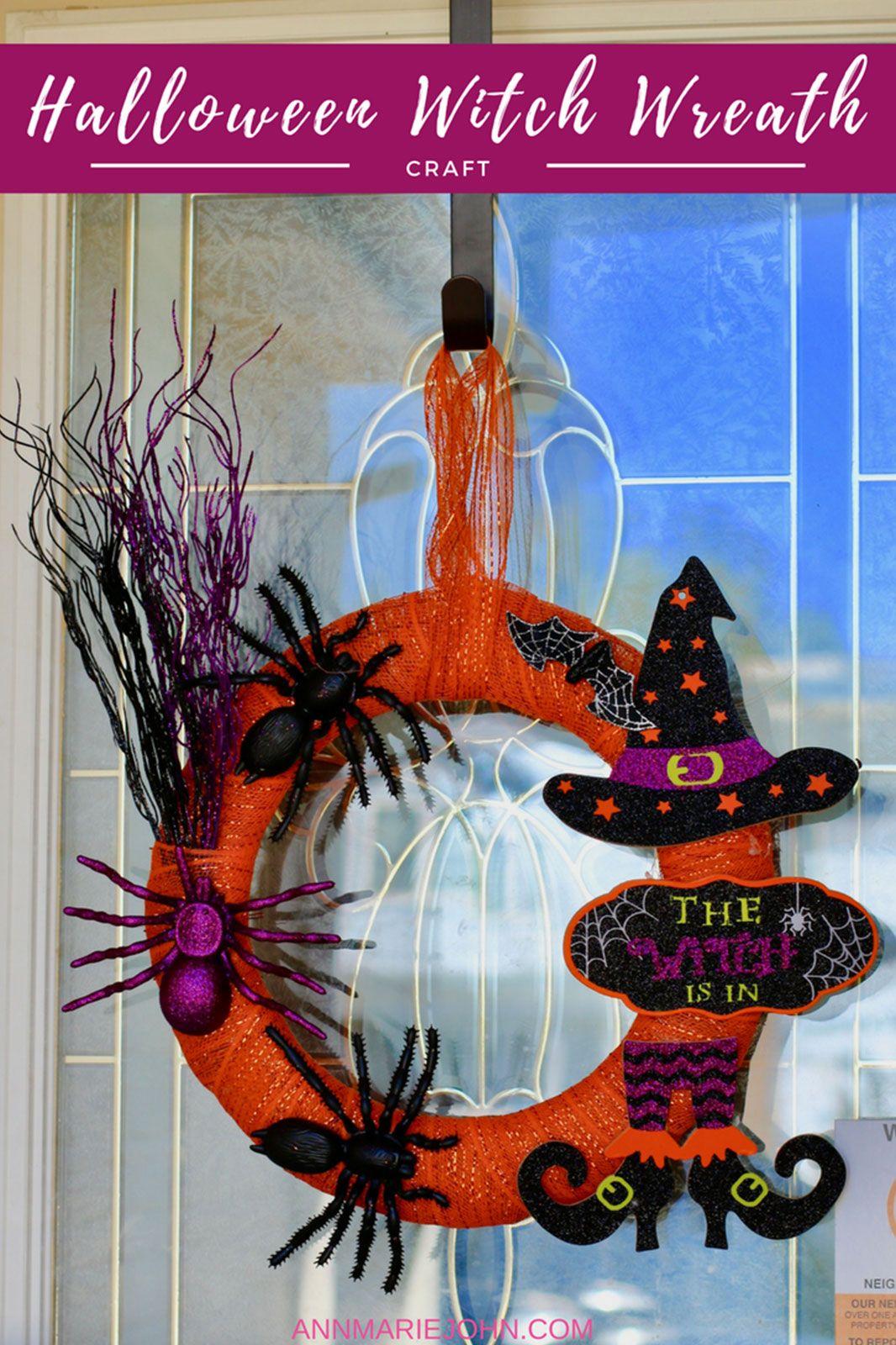 DIY Dollar Store Halloween Witch Wreath Halloween witch