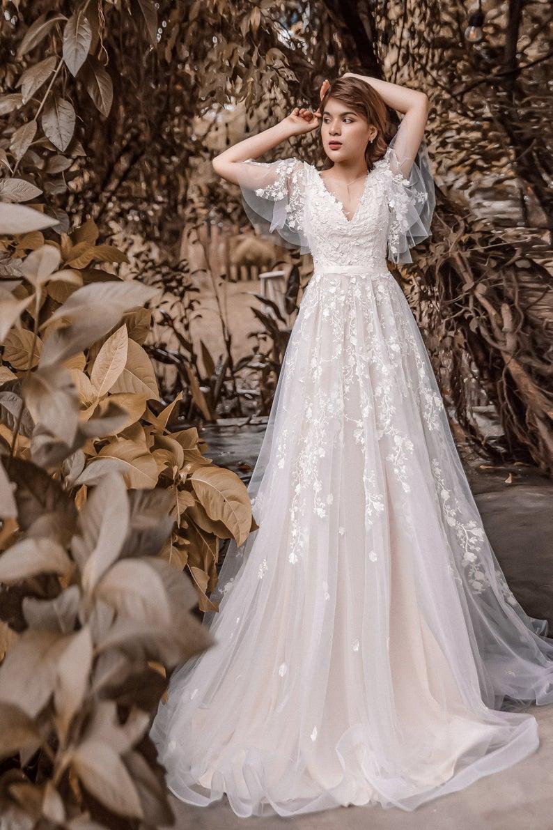 Sophia A Line Vintage Wedding Dress With Flutter Sleeve Blush Etsy Blush Pink Wedding Dress Fairy Wedding Dress Long Wedding Dresses [ 1191 x 794 Pixel ]