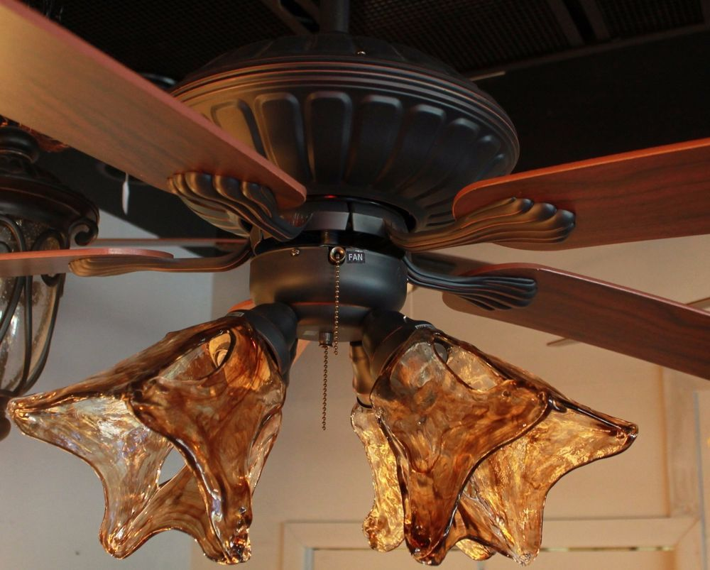 New 52 orb oil rubbed bronze ceiling fan with 4 light amber hand new 52 orb oil rubbed bronze ceiling fan with 4 light amber hand blown glass mozeypictures Image collections