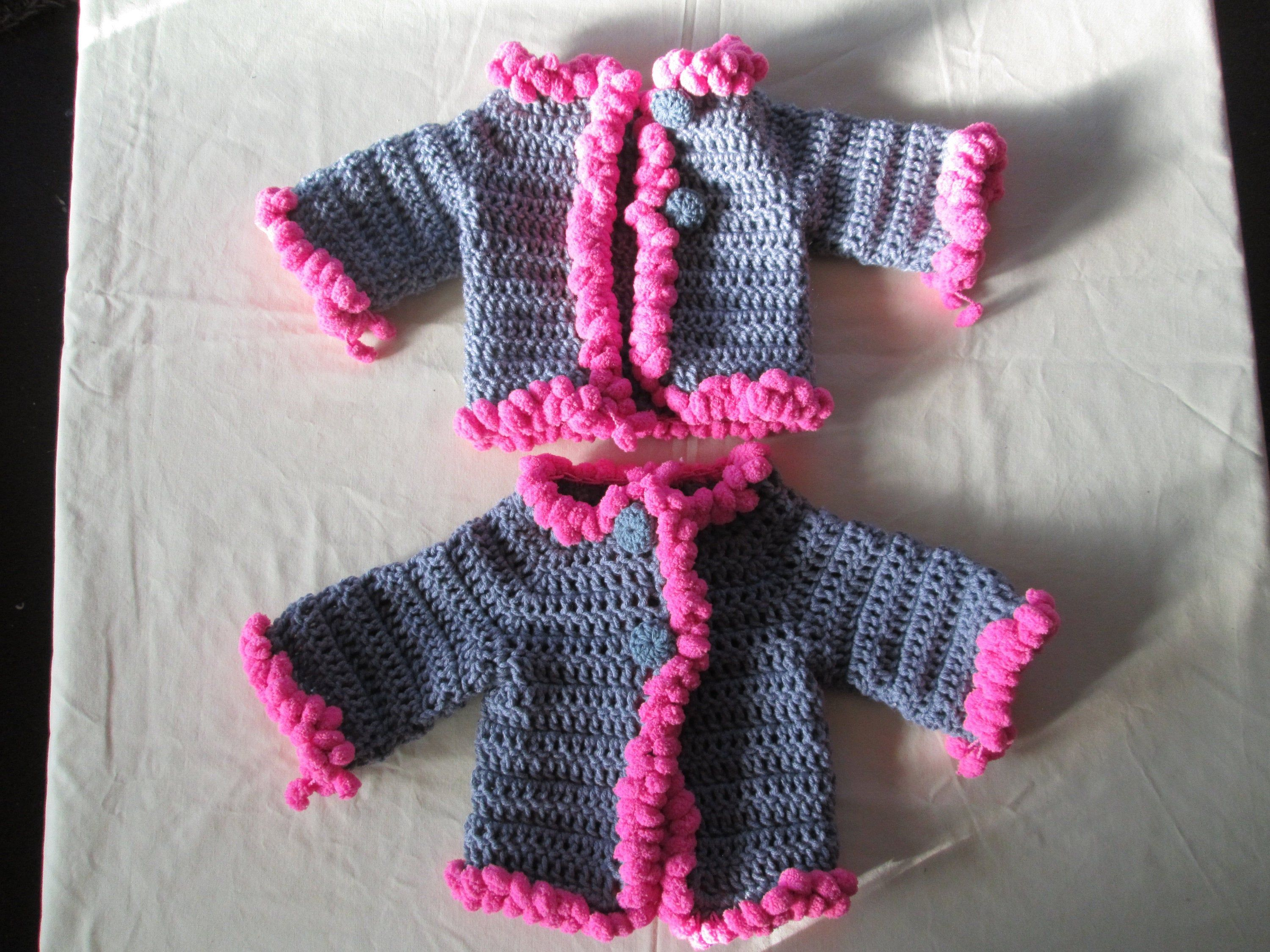 Preemie 3 Month Baby Girl Blue Sweater 6 Months Baby Girl Blue and Greens Sweater Crocheted by SuzannesStitches Baby Girl Green Cardi