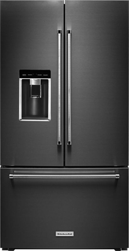 High Quality KitchenAid KRFC704F 36 Inch Wide 23.8 Cu. Ft. Capacity Counter Depth French  Door Black Stainless Steel Refrigerators French Door Fridge