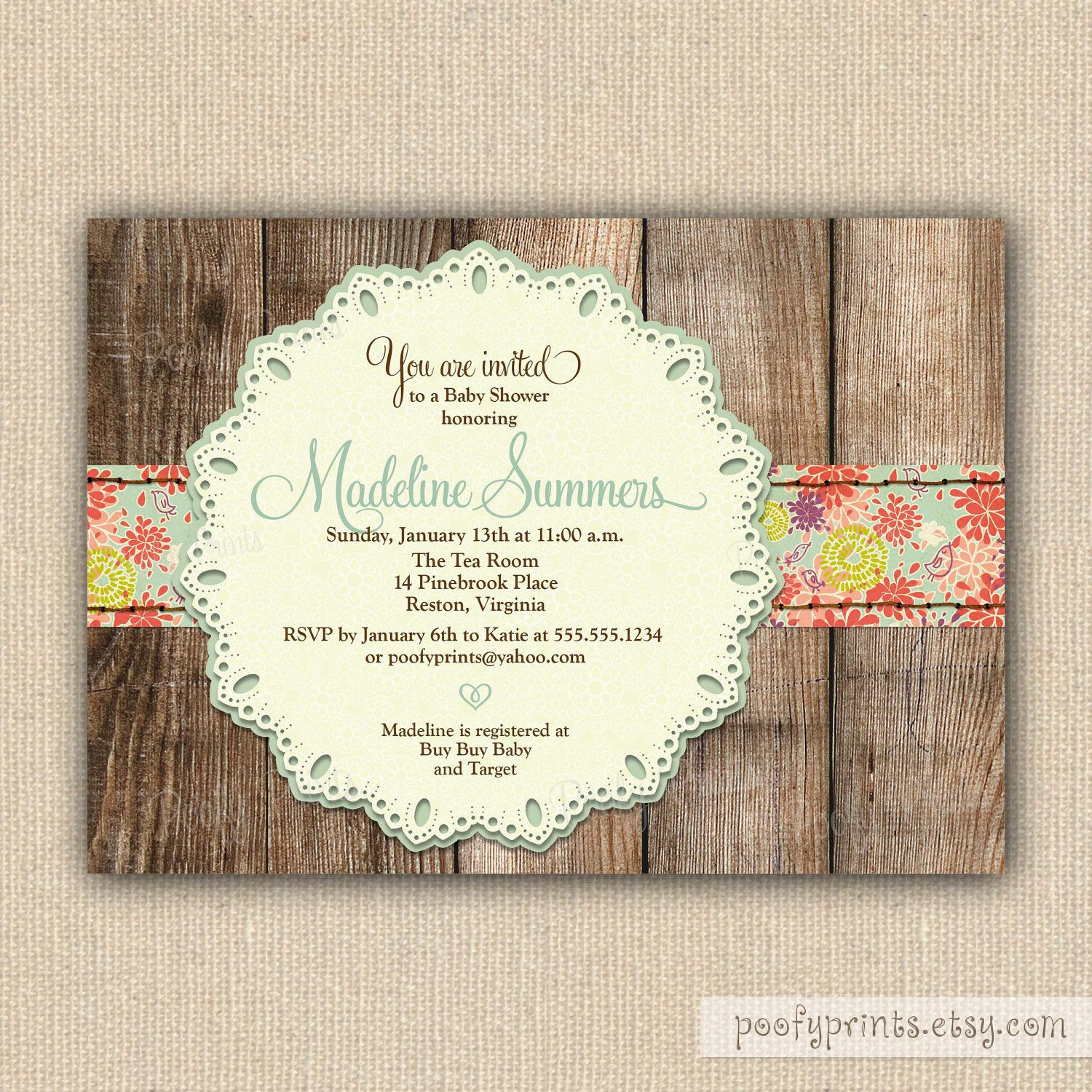 Rustic Baby Shower Invitations DIY Printable Baby Shower