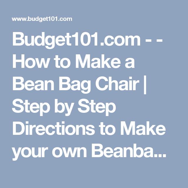 Budget101 Com How To Make A Bean Bag Chair Step By