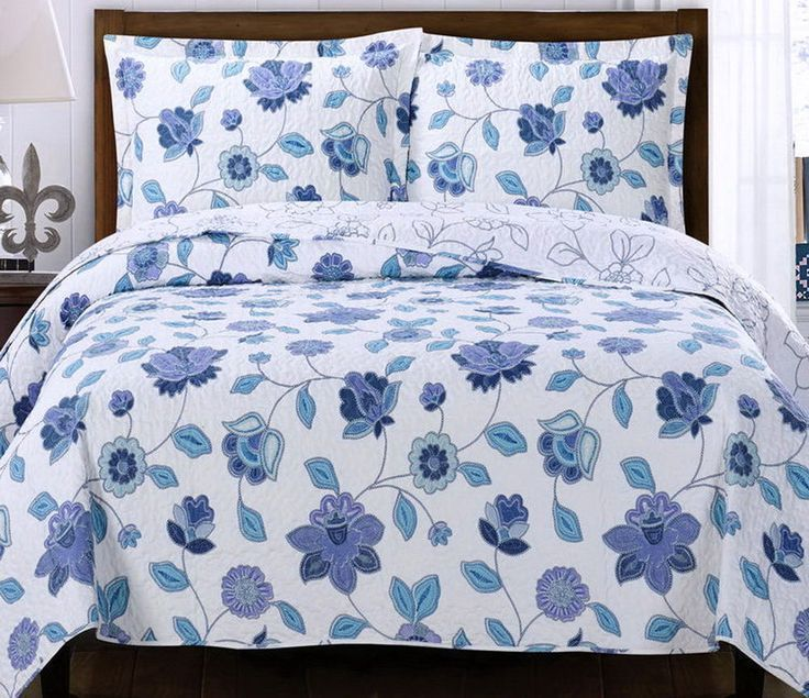 COTTAGE Blue Purple Floral LIGHTWEIGHT REVERSIBLE Quilt COVERLET ... : lightweight quilts and coverlets - Adamdwight.com