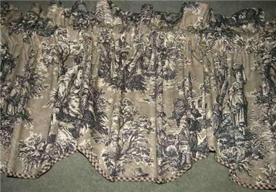 Toile Valances Scalloped Valance Curtain French Country