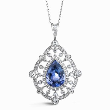 Pear shaped sapphire and diamond pendant lovely jewerly piece pear shaped sapphire and diamond pendant aloadofball Image collections