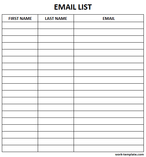 Printable Email List Template Sign Up Sheet Template Name Email Phone Email List Template List Template Sign In Sheet Template