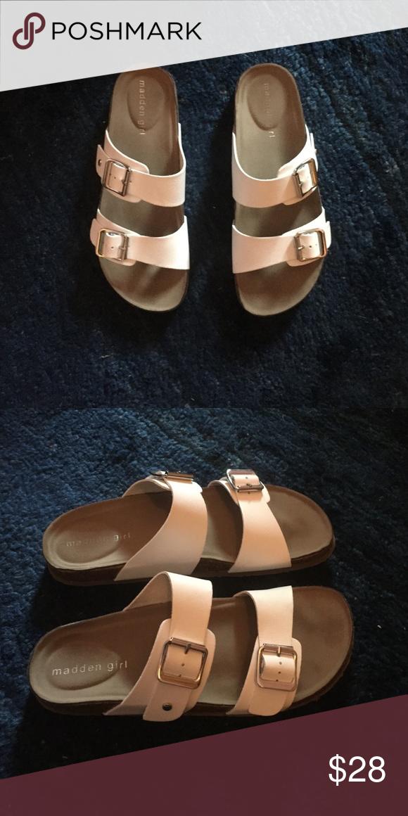 Madden Girl White Birkenstock Sandals