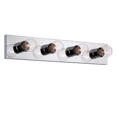 Bathroom Vanity Lights With Outlet project source 4-light chrome standard bathroom vanity light bar