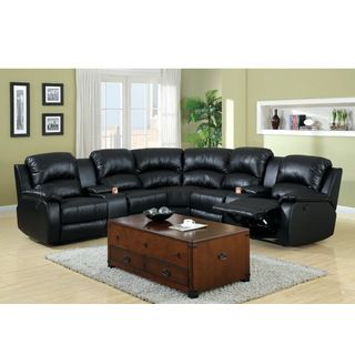 Overstock  Furniture Of America Amerlie Black Leather Reclining Enchanting Black Leather Living Room Furniture Design Ideas