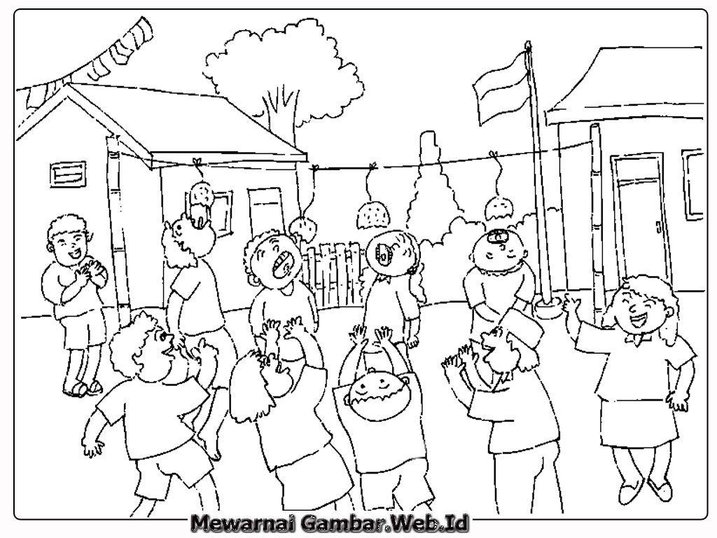 Gambar Mewarnai Lomba Makan Kerupuk Dalam Peringatan 17 Agustus Jpg 1024 768 Sketsa Buku Mewarnai Warna