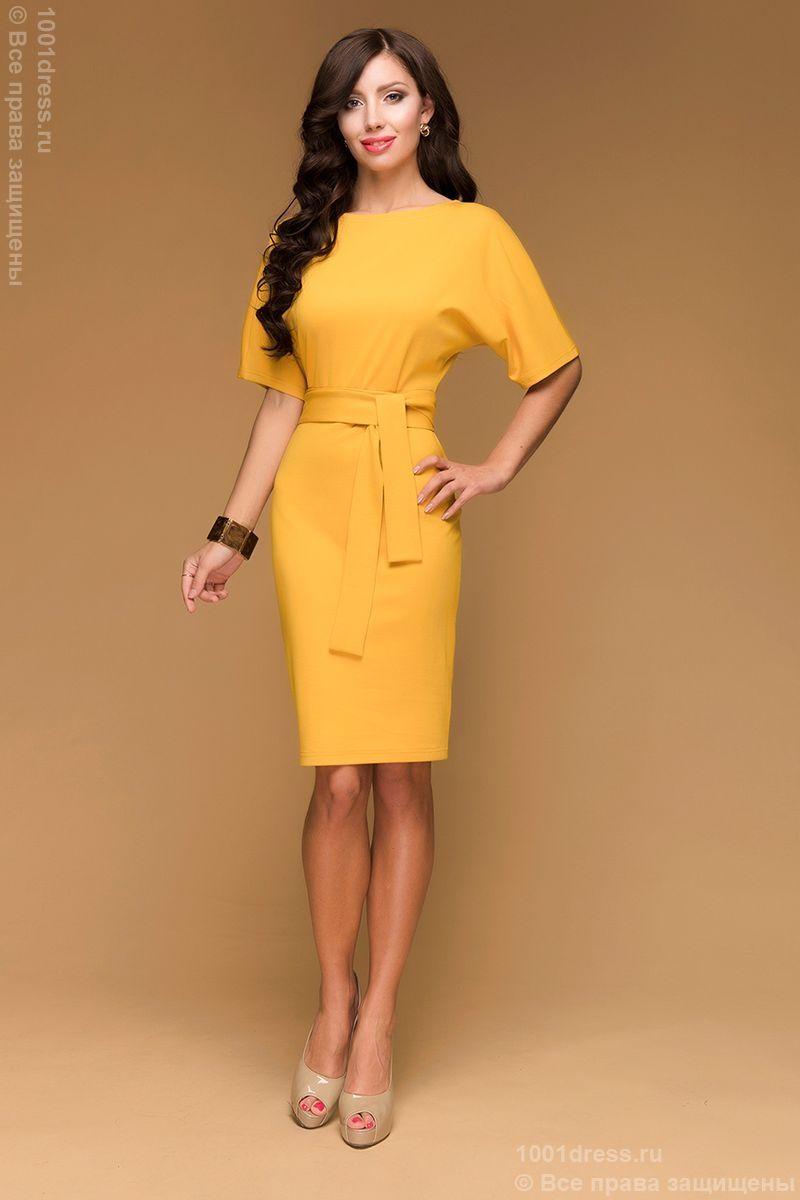 516f08d531a2e9e Трикотажное платье горчичного цвета с поясом и рукавом летучая мышь  недорого в интернет-магазине 1001DRESS