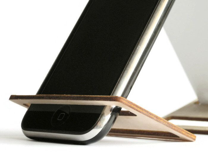 Laser cut wood cell phone holder for deskwood phone accessories
